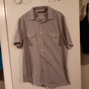 Gray and white checkered short sleeve button down